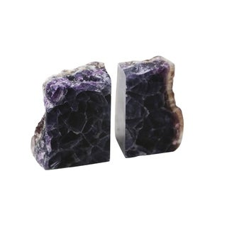 Elegant Stone Agate Bookends, Purple, Set Of 2