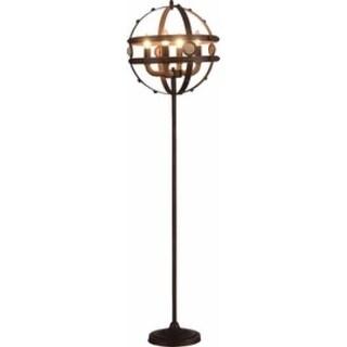 Metal Floor Lamp, Antique Coffee Brown