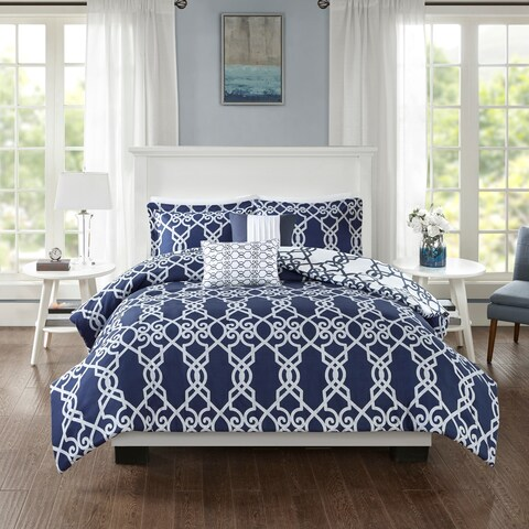 510 Design Neville Dark Navy 5 Piece Reversible Print Duvet Set