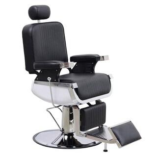 Barberpub Barber Chair Heavy Duty Hydraulic Recliner Equipment - Black