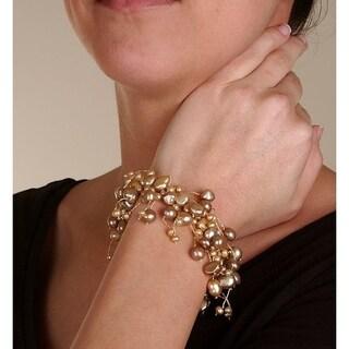 DaVonna Bronze Cultured FW Pearl 7 Inch Stretch Bracelet