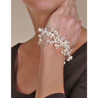 DaVonna White Cultured FW Pearl 7-inch Stretch Bracelet