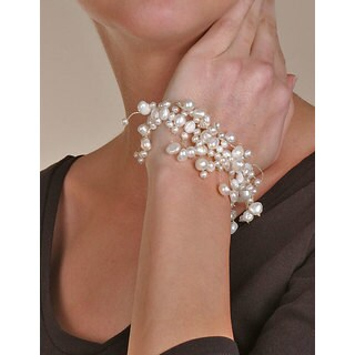 DaVonna White Cultured Freshwater Pearl 7-inch Stretch Bracelet