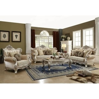 ACME Bently Sofa w/7 Pillows, Fabric & Champagne