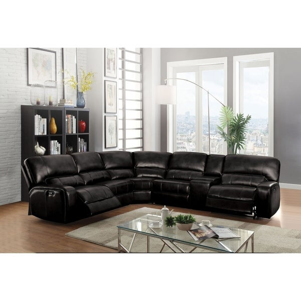 ACME Saul Sectional Sofa (Power Motion/USB Dock), Black Leather-Aire  (1Set/6Ctn)