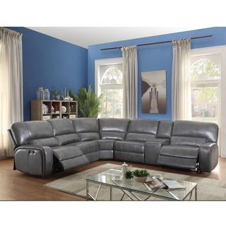 ACME Saul Sectional Sofa (Power Motion/USB Dock), Gray Leather-Aire (1Set/6Ctn)