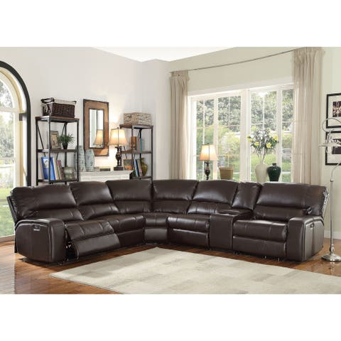 ACME Saul Sectional Sofa (Power Motion/USB Dock), Espresso Leather-Aire (1Set/6Ctn)