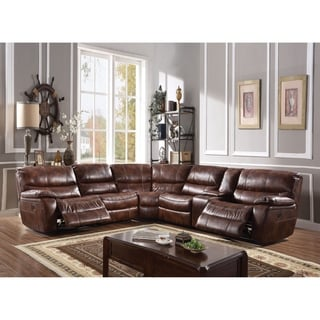 ACME Brax Sectional Sofa (Power Motion), 2-Tone Brown Leather Gel (1Set/6Ctn)