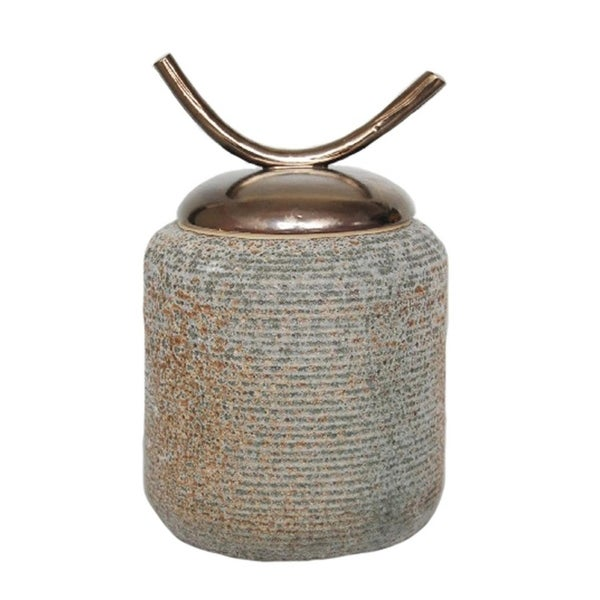 Porcelain Covered Jar With Ox Horn Lid Decor, Bronze And Gray