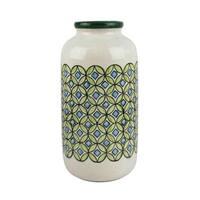 Artistic Ceramic Jar, Ivory/Green