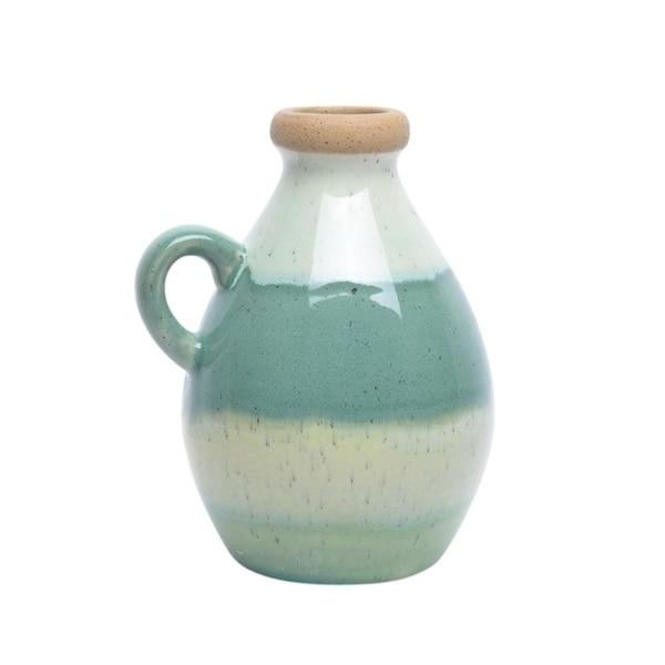 Contemporary Style Ceramic Handled Jar, Multicolor