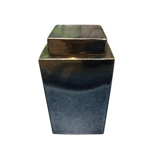 Sophisticated Ceramic Covered Jar, Gold And Gray