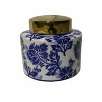 Sophisticatedly Charmed Ceramic Covered Jar, Blue And White