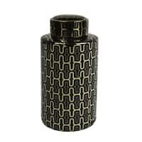 Decorative Ceramic Covered Jar, Black/Gold