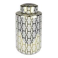 Decorative Ceramic Covered Jar, White/Gold
