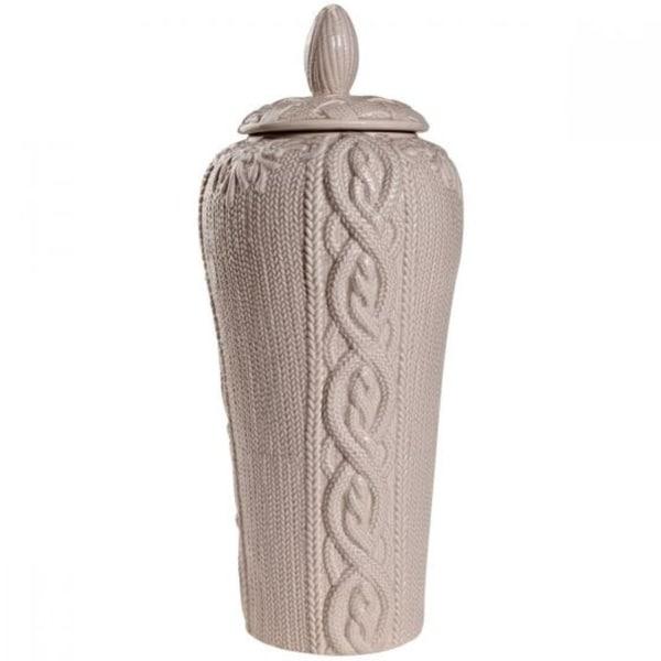 Rock Based intriguing pattern Lidded Jar, Beige