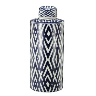 Ceramic Lidded Large Jar, Blue And White
