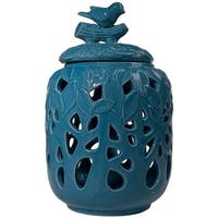 Cutout Patterned Dolomite Jar With Lid, Blue