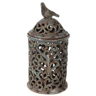 Tall Rustic Ceramic Jar with Bird Finial, Blue