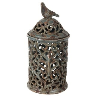 Tall Rustic Ceramic Jar with Bird Finial, Blue