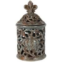 Short Decorative Ceramic Jar with Fleur-de-lis Finial, Blue