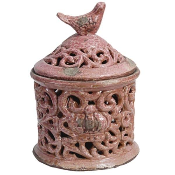 Quaint Ceramic Lidded Jar, Red