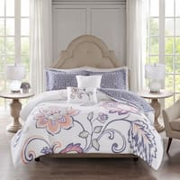 510 Design Gratia Indigo 5 Piece Reversible Print Duvet Set