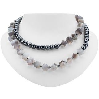 "Tara Mesa 35"" Agate and Hematite Endless Necklace"