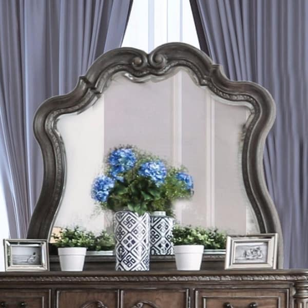 Wooden Beveled Mirror, Gray - Chrome finish
