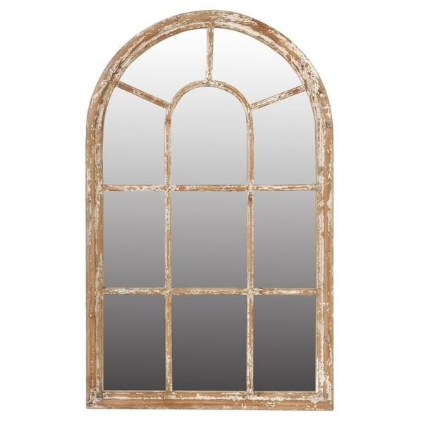 Arched Wooden Framed Mirror, Large, Brown - Free Shipping Today ...