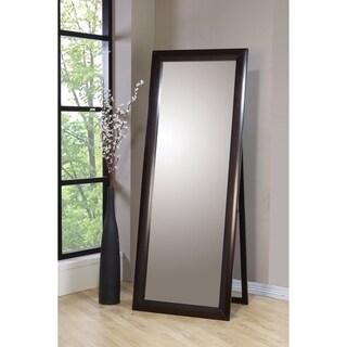 Splendid Standing Floor Mirror With Wooden Frame, Brown - Oak Finish
