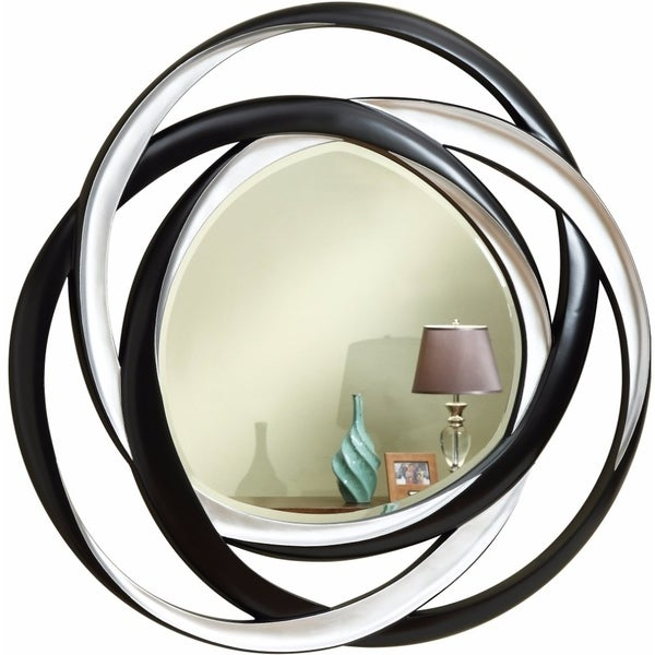 Contemporary Two-Tone Round Accent Mirror, Black And Silver