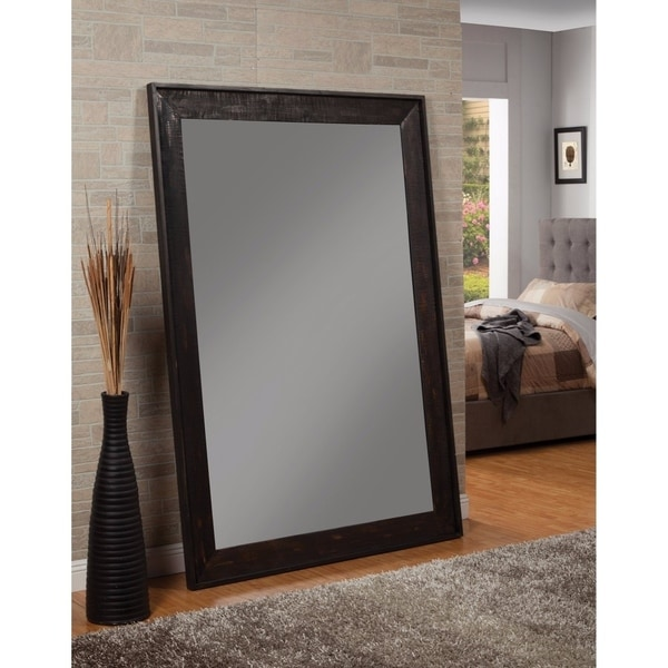 Shop Distressed Floor Mirror With Wooden Frame Black