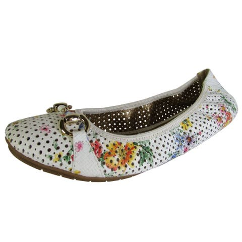 Me Too Womens Lacey Perforated Ballet Flat Shoes, Flower Print Leather