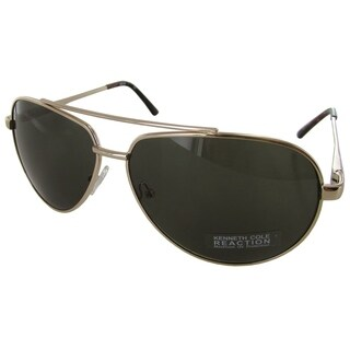 Kenneth Cole Reaction Mens KC1247 Metal Aviator Fashion Sunglasses, Gold/Green