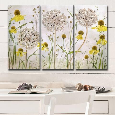 Ready2HangArt 'Alliums and Heleniums' 3-Pc Canvas Wall Décor Set