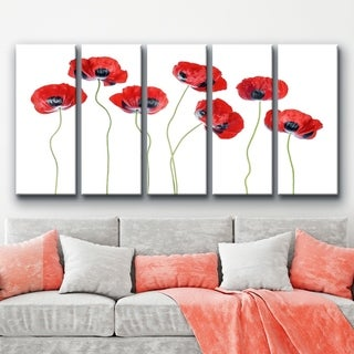 Ready2HangArt 'Ladybird Poppies' 5-Piece Canvas Wall Décor Set - Red