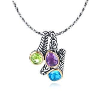 Rhodium Plated Lab Created Blue Topaz Amethyst Peridot Pendant Necklace