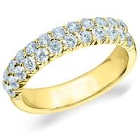 Amore 14K Yellow Gold 1.0 CT TDW Two Row Diamond Ring