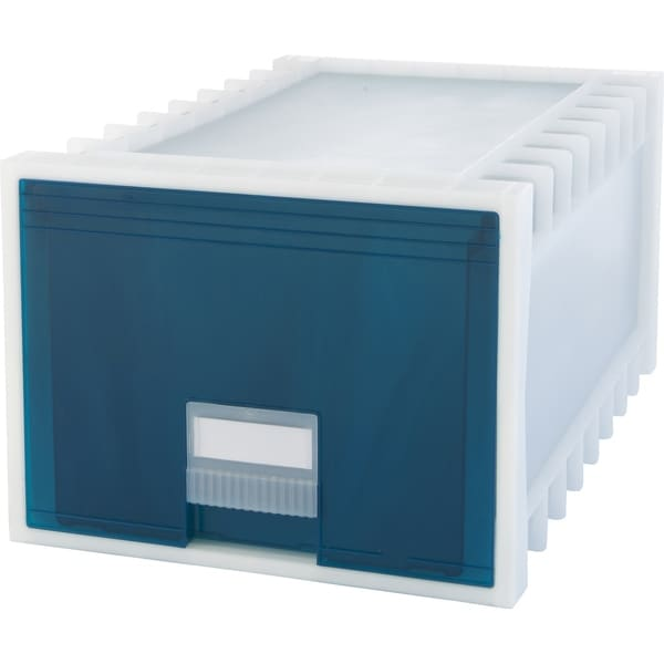 Storex Plastic Archive Storage Box, Letter/Legal Size, 24-Inch Drawer,  White/Green