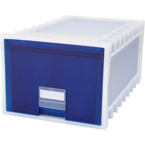 Storex Plastic Archive Storage Box, Letter/Legal Size, 24-Inch Drawer, White/Blue