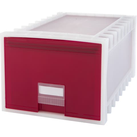 Storex Plastic Archive Storage Box, Letter/Legal Size, 24-Inch Drawer, White/Red