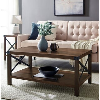 Rustic Urban Industrial Metal X Coffee Table