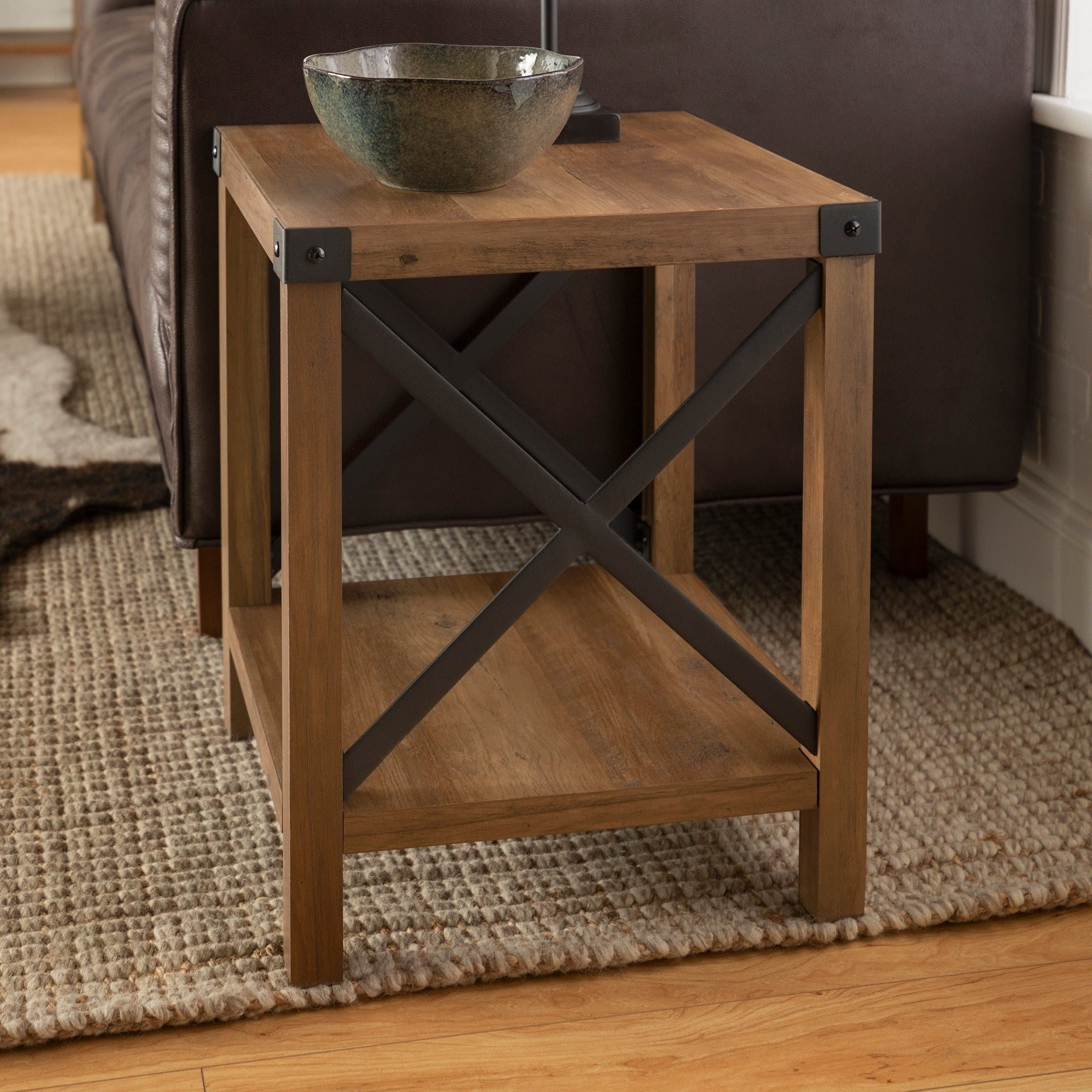 The Gray Barn 18-inch Kujawa Rustic Side, End Table, Farmhouse X-frame for  Living Room - 18 x 18 x 22h