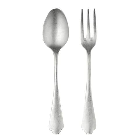 Stainless Steel Dolce Vita Pewter Serving Set (Fork and Spoon)