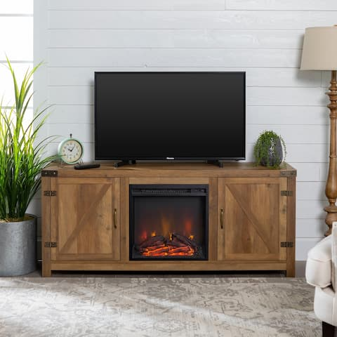 The Gray Barn Firebranch Barn Door Rustic Oak Fireplace TV Console - 58 x 16 x 25h