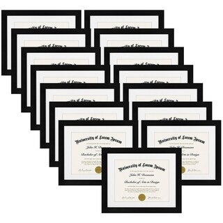 15-Pack, 11x14 Document Frame - Made for Documents Sized 8.5x11 Inch with Mat and 11x14 Inch without Mat