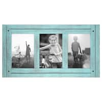 Americanflat 4x6 Turquoise Blue Collage Distressed Wood Frame - Made to Display Three 4x6 Photos