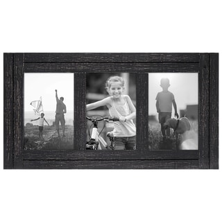 Americanflat 4x6 Charcoal Black Collage Distressed Wood Frame - Made to Display Three 4x6 Photos - Hang or Stand on Table Top