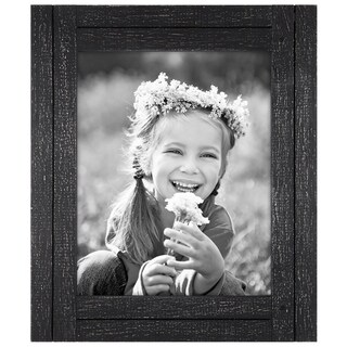 8x10 Charcoal Black Distressed Wood Frame - Made to Display 8x10 Photos - Ready To Hang or Stand With Built in Easel